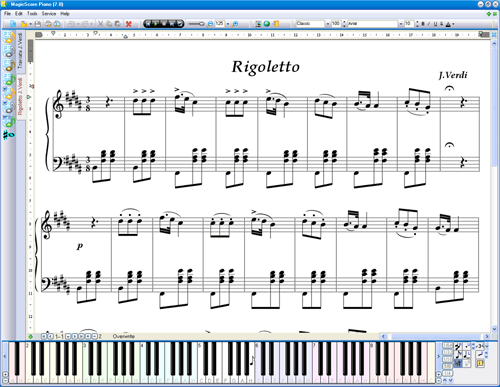 MagicScore Virtual Piano screenshot: virtual piano keyboard, virtual piano, virtual keyboard, piano keyboard, piano keyboard software, virtual piano sheet music, keyboard piano, music notation software, music notation program, music notation editor, music composing software