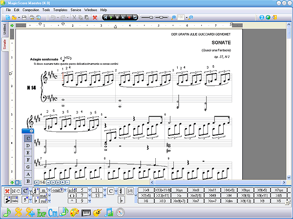 To Design Your Music Score You Can Use A Large Set Of Graphical Elements The Tab In MagicScore Also Has Buttons Used For Inserting Pictures And