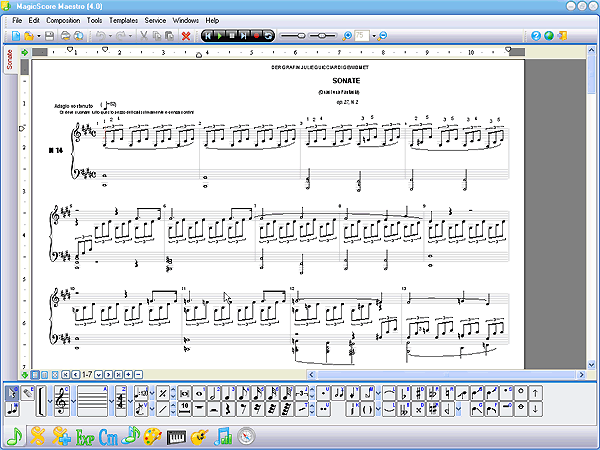 The 'Notes' palette of this music notation software is designed to make it