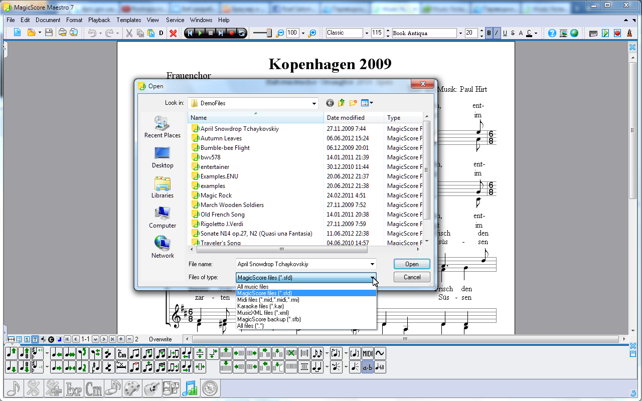 Music Score Import/Export from to MusicXML MIDI and Karaoke files