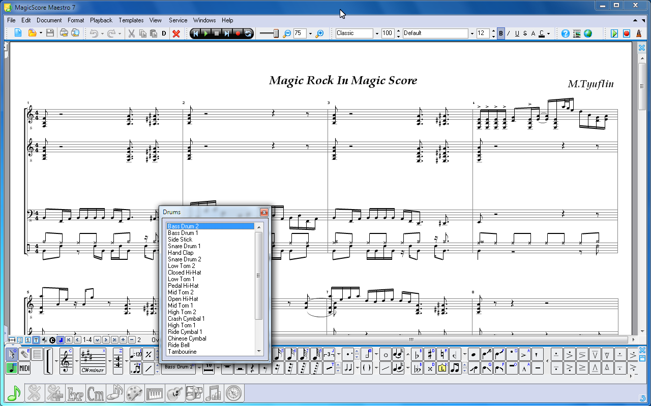 Writing drum music with musink music composition notation software.