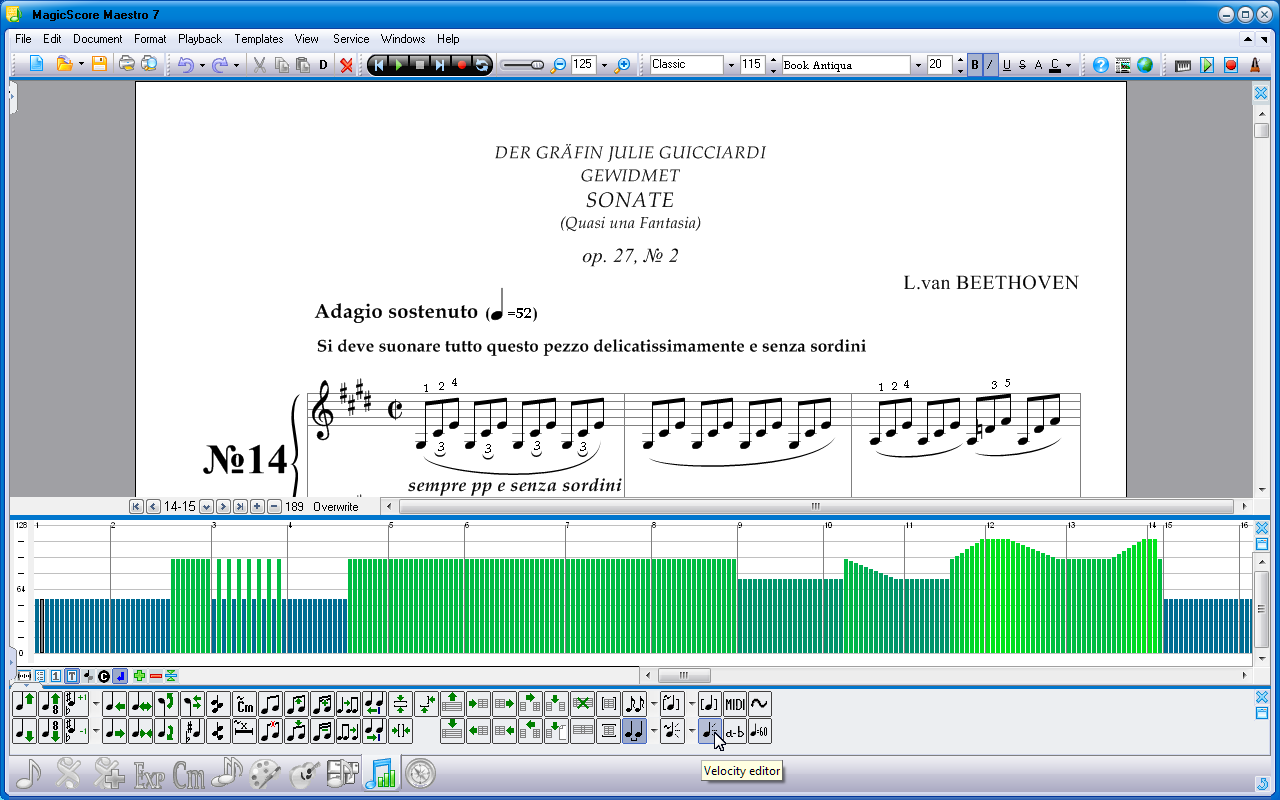 Sheet Music Notes Velocities Editor