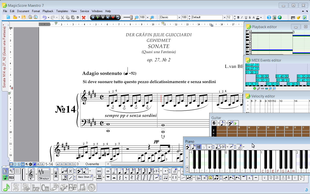 MagicScore Maestro is a music notation software with extended editing capabilities and internal spell-checker. It features a variety of input methods - virtual keyboard, external MIDI devices, or an extended set of musical symbols.