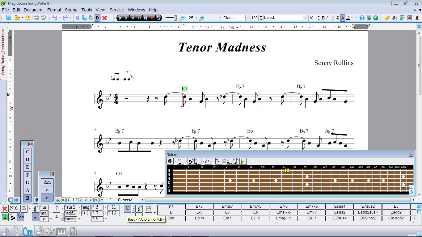 Guitar Toolbar, Chords Toolbar, Active Focus.