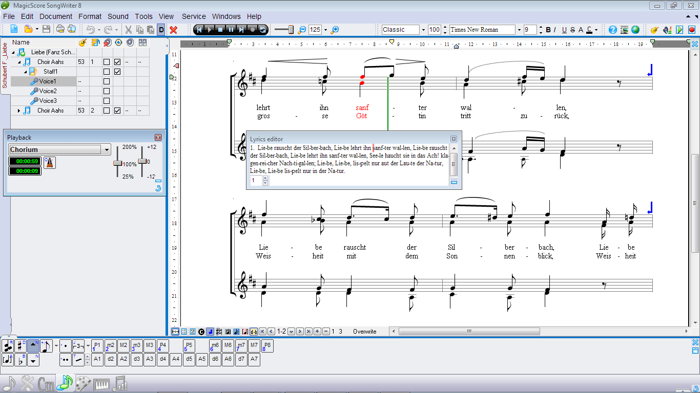 Playing Toolbar, Lyrics Editor, Intervals Toolbar.