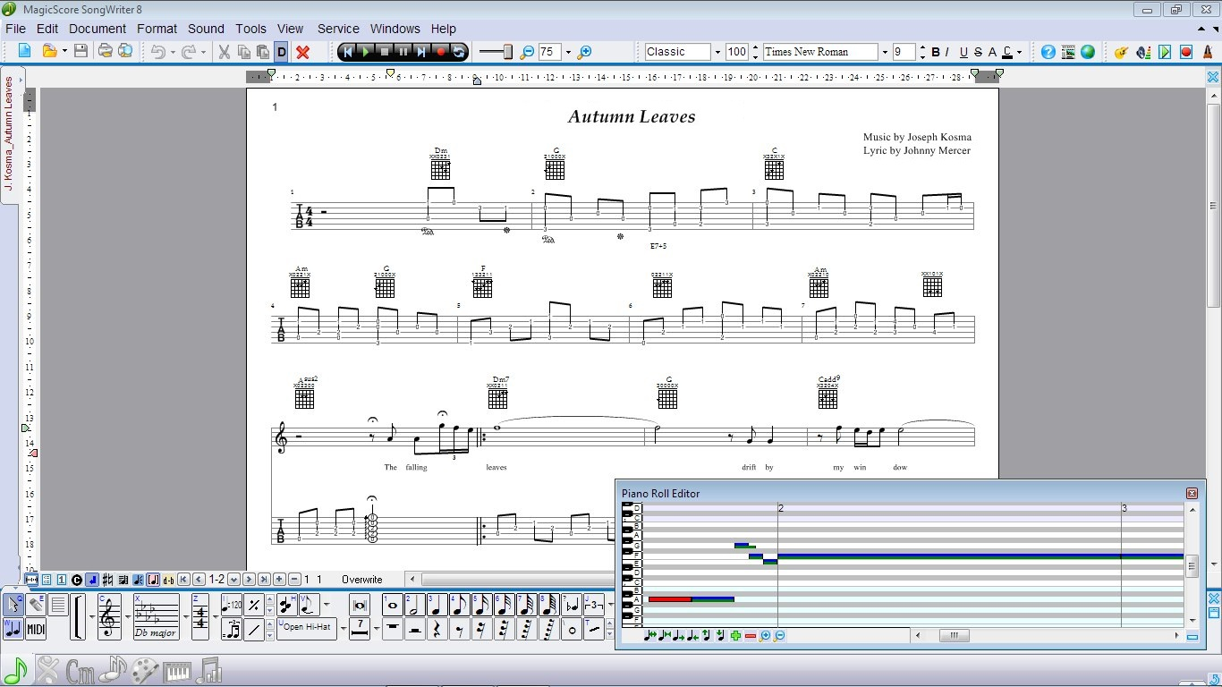 Notes Toolbar, Piano-Roll Editor, notes, tablature, chords.