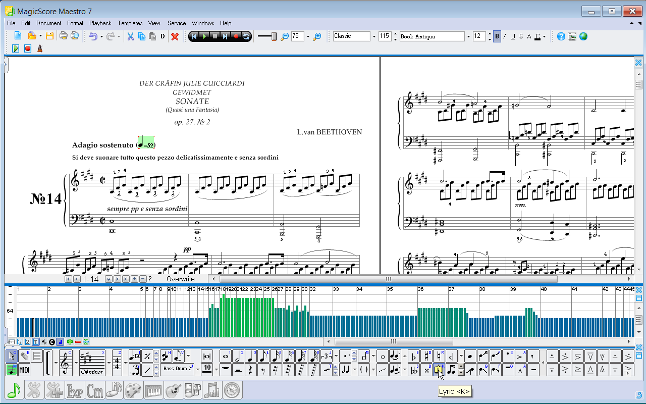 Magicscore maestro music composition and music notation software flexible visual and audio controls buycottarizona