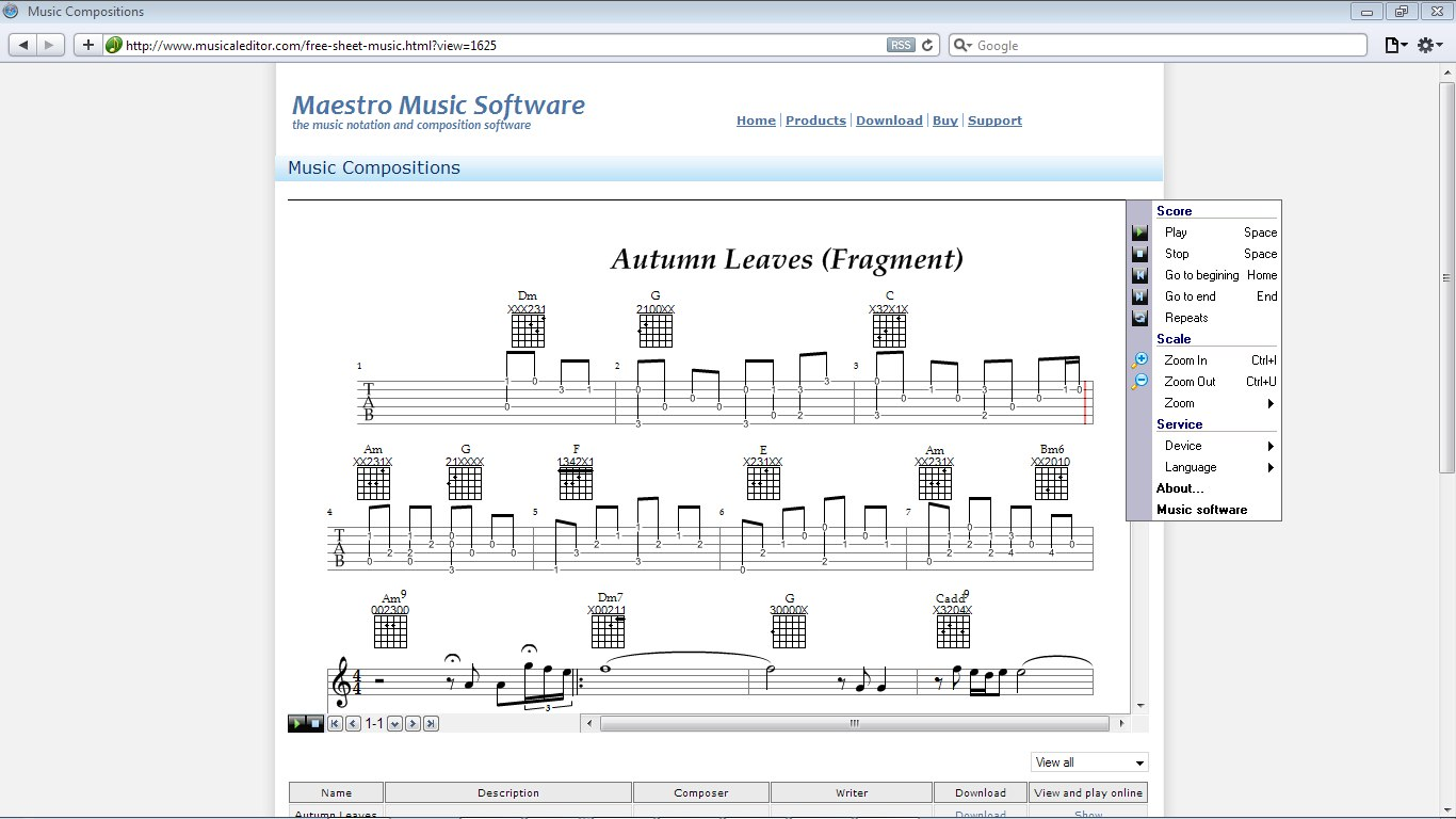 Online plug-in to view scores.